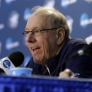 Syracuse head coach Jim Boeheim answers questions during a news conference Friday, March 29, 2013, in Washington. Syracuse plays Marquette in a regional semifinal game in the NCAA basketball tournament on Saturday. (AP Photo/Pablo Martinez Monsivais)