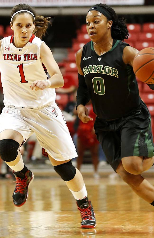 Baylor's Odyssey Sims (0) drives against Texas Tech's Marina Lizarazu (1) during an NCAA college basketball game in Lubbock, Texas, Wednesday, Feb. 12, 2014