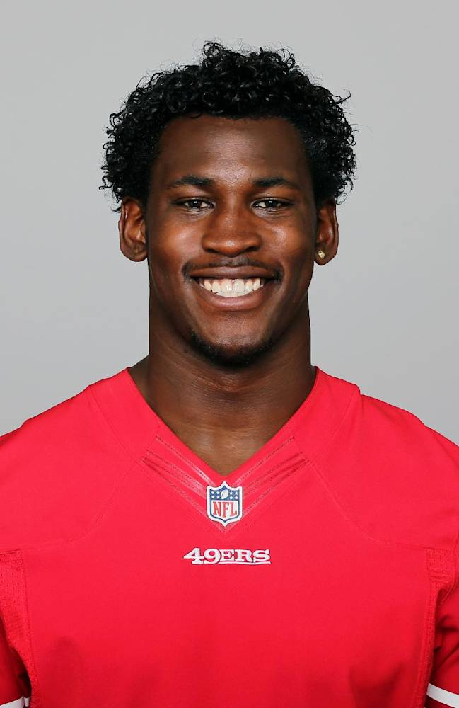 In this 2013 photo, San Francisco 49ers' Aldon Smith poses for a photo, location not known. Smith has been arrested at Los Angeles International Airport after authorities said he became belligerent during a security screening and threatened that he had a bomb. LAPD Sgt. Michael Fox said Smith was booked Sunday afternoon, April 13, 2014. (AP Photo)