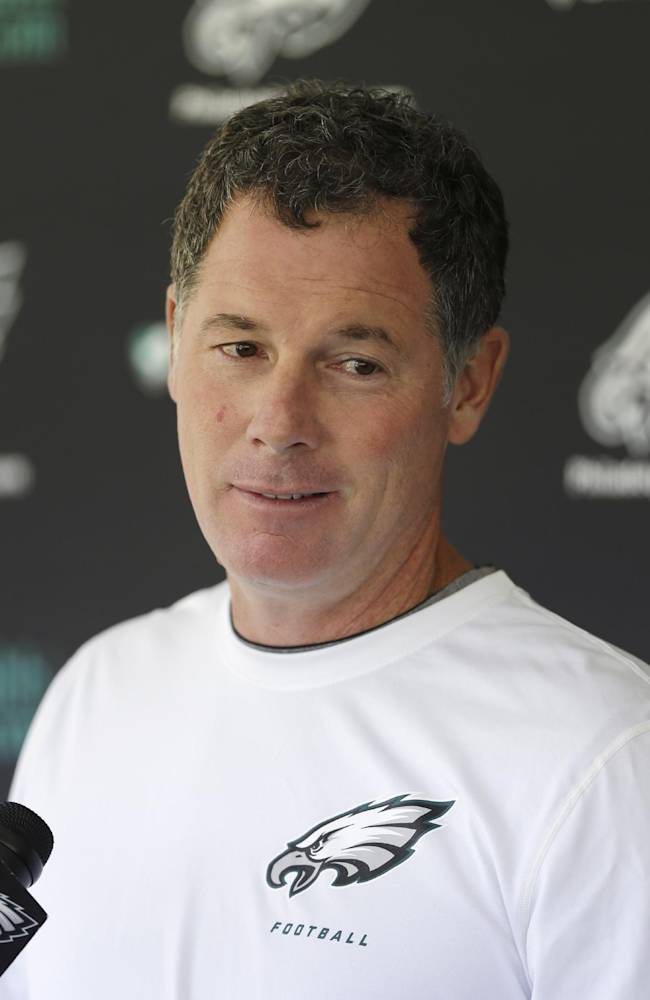 Philadelphia Eagles offensive coordinator Pat Shurmur speaks during a news conference ahead of practice at the NFL football team's training facility, Tuesday, Oct. 15, 2013, in Philadelphia