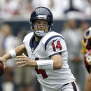 Houston Texans' Ryan Fitzpatrick (14) looks to throw against the Washington Redskins during the first quarter of an NFL football game Sunday, Sept. 7, 2014, in Houston The Associated Press