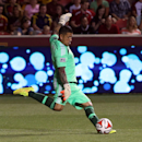 Real Salt Lake goalkeeper Nick Rimando kicks a goal kick in the second half of an MLS soccer match against the New England Revolution, Friday, July 4, 2014, in Sandy, Utah The Associated Press