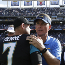San Diego Chargers head coach Mike McCoy, right, greets Jacksonville Jaguars quarterback Chad Henne after the Chargers beat the Jaguars in an NFL football game, Sunday, Sept. 28, 2014, in San Diego. The Chargers won, 33-14. The Associated Press