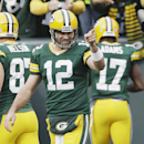 FILE - In this Oct. 19, 2014, file photo, Green Bay Packers quarterback Aaron Rodgers celebrates a touchdown pass to Davante Adams (17) during an NFL football game against the Carolina Panthers in Green Bay, Wis. Rodgers has won his second Associated Press NFL Most Valuable Player award. (AP Photo/Tom Lynn, File)
