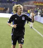 San Jose Earthquakes' Steven Lenhart leaves the field after the Earthquakes defeated the Seattle Sounders 2-1 in a MLS soccer match, Saturday, Sept. 22, 2012, in Seattle. (AP Photo/Ted S. Warren)