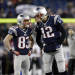 FILE - In this Jan. 20, 2013, file photo, New England Patriots quarterback Tom Brady (12) talks to wide receiver Wes Welker (83) before the NFL football AFC Championship football game against the Baltimore Ravens in Foxborough, Mass. The Denver Broncos have found a new target for Peyton Manning, agreeing to a two-year deal with Pro Bowl receiver Wes Welker. (AP Photo/Elise Amendola, File)
