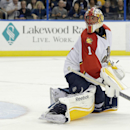 Florida Panthers goalie Roberto Luongo looks back as a shot by Tampa Bay Lightning defenseman Victor Hedman, of Sweden, goal in the goal during overtime in an NHL hockey game Thursday, Oct. 9, 2014, in Tampa, Fla. The Lightning won the game 3-2 The Associ