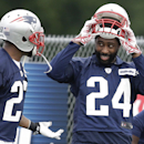 New England Patriots cornerback Darrelle Revis, right, speaks with strong safety Tavon Wilson, left, during an NFL football training camp practice at Gillette Stadium, Thursday, July 24, 2014, in Foxborough, Mass. (AP Photo) The Associated Press
