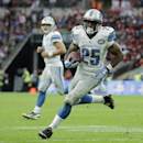Detroit Lions running back Theo Riddick (25) runs to the end zone for a touchdown after receiving a pass thrown by quarterback Matthew Stafford (9) in the second half of the NFL football game against the Atlanta Falcons at Wembley Stadium, London, Sunday,