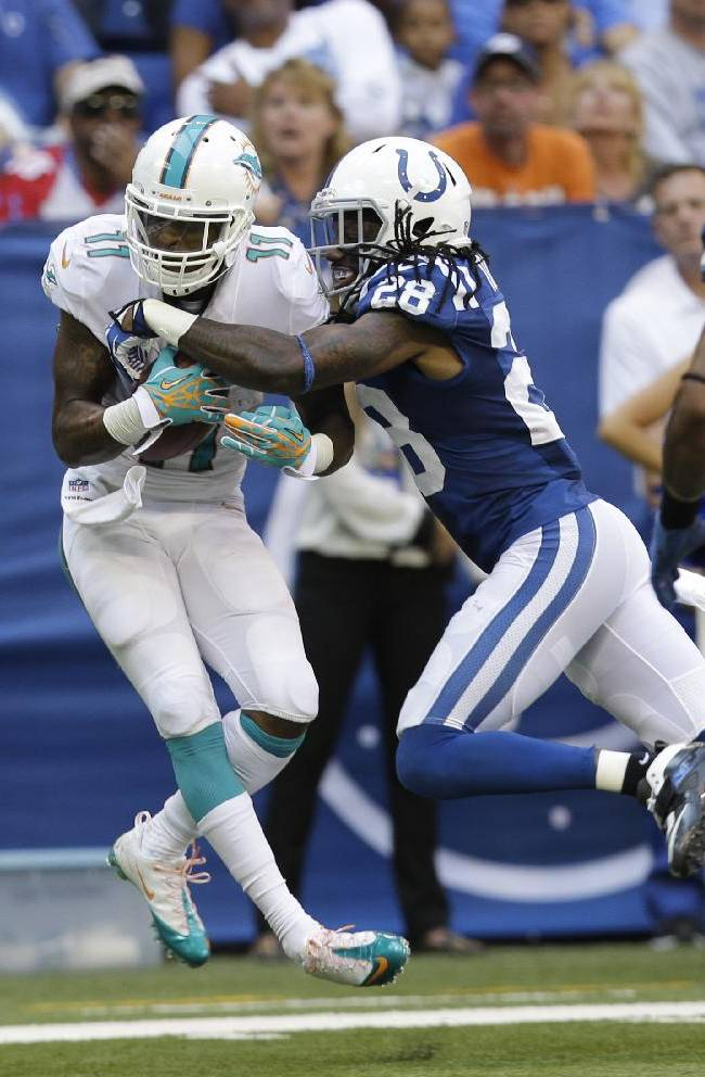 Miami Dolphins' Mike Wallace (11) is tackled by Indianapolis Colts' Greg Toler (28) during the second half an NFL football game Sunday, Sept. 15, 2013, in Indianapolis