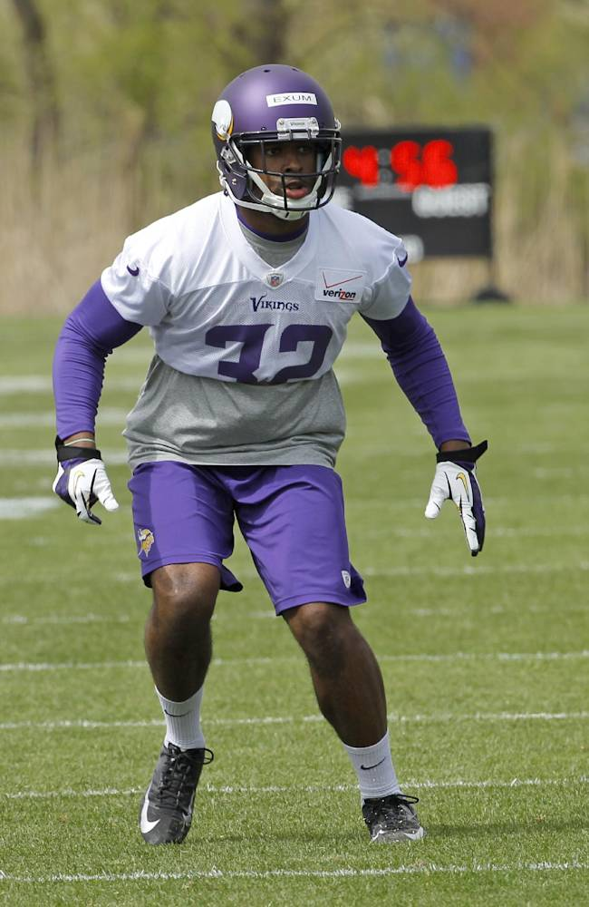 Defensive back Antone Exum takes part in a drill during the Minnesota Vikings' NFL football minicamp in Eden Prairie, Minn., Friday, May 16, 2014. New Vikings coach Mike Zimmer set to work getting young players like quarterback Teddy Bridgewater, linebacker Anthony Barr and defensive backs Exum and Kendall James up to speed on what will be expected of them in the NFL