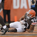 Cleveland Browns inside linebacker Craig Robertson recovers a fumble in the end zone for a touchdown in the first quarter of an NFL football game against the Indianapolis Colts Sunday, Dec. 7, 2014, in Cleveland The Associated Press