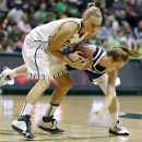 South Florida guard Inga Orekhova (13) battles with Notre Dame guard Madison Cable (22) for a loose ball during the first half of an NCAA college basketball game, Tuesday, Jan. 8, 2013, in Tampa, Fla. (AP Photo/Chris O'Meara)
