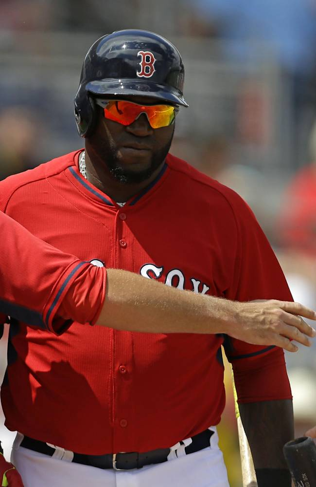Boston Red Sox designated hitter David Ortiz steps up to the plate in the third inning of an exhibition baseball game against the Tampa Bay Rays in Fort Myers, Fla., Sunday, March 23, 2014
