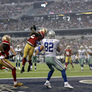 San Francisco 49ers inside linebacker Patrick Willis, second from left, intercepts a pass intended for Dallas Cowboys tight end Jason Witten (82) in the end zone during the first half of an NFL football game, Sunday, Sept. 7, 2014, in Arlington, Texas The