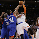 New York Knicks' J.R. Smith (8) is fouled by Philadelphia 76ers' Hollis Thompson (31) during the first half of an NBA basketball game Monday, March 10, 2014, in New York The Associated Press
