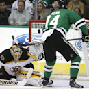 Boston Bruins goalie Tuukka Rask (40) defends the goals agains Dallas Stars left wing Jamie Benn (14) during the first period of an NHL hockey game Tuesday, Jan. 20, 2015, in Dallas The Associated Press
