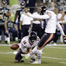 Chicago Bears' Robbie Gould kicks his second field goal of the night against the Seattle Seahawks, as Pat O'Donnell holds in the second half of a preseason NFL football game, Friday, Aug. 22, 2014, in Seattle. The Seahawks won 34-6 The Associated Press