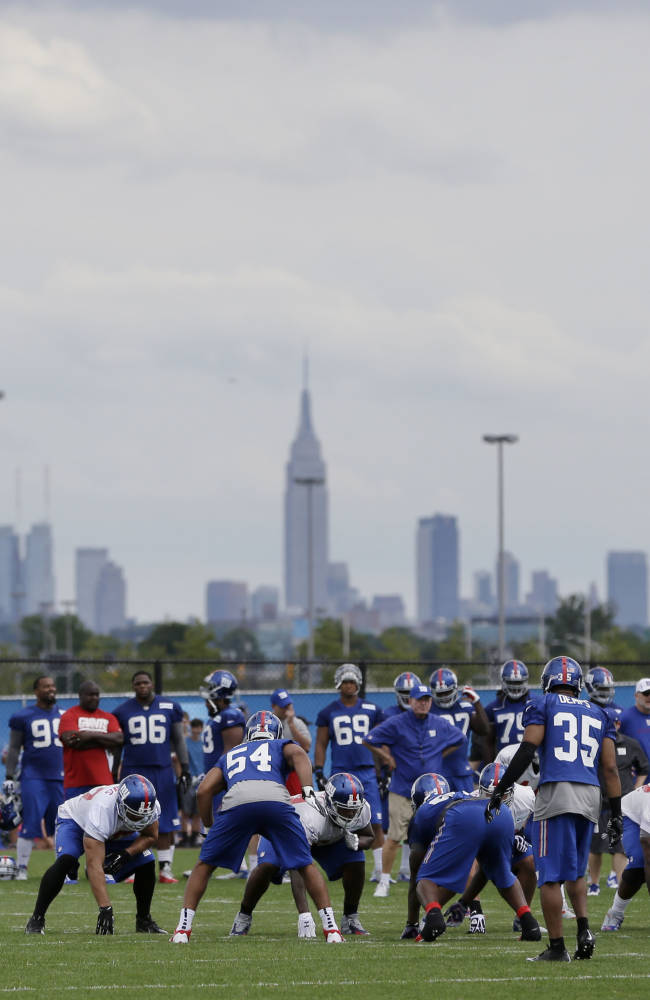 The New York Giants practice in front of the New York skyline during a NFL football camp in East Rutherford, N.J., Thursday, July 24, 2014