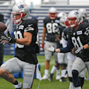 New England Patriots wide receiver Danny Amendola catches a football during a drill at an NFL football training camp joint practice of the New England Patriots and the Philadelphia Eagles in Foxborough, Mass., Wednesday, Aug. 13, 2014 The Associated Press