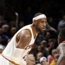 CLEVELAND, OH - NOVEMBER 10: LeBron James #23 of the Cleveland Cavaliersn defends to ball against the New Orleans Pelicans during the game on November 10, 2014 at Quicken Loans Arena in Cleveland, Ohio. (Photo by David Kyle/NBAE via Getty Images)