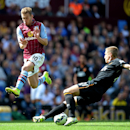 Aston Villa's Andreas Weimann, left, battles for the ball with Hull City's Michael Dawson, during their English Premier League soccer match at Villa Park, Birmingham, England, Sunday, Aug. 31, 2014