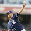 San Diego Padres starting pitcher Eric Stults works against the San Francisco Giants in the first inning of a baseball game Saturday, April 19, 2014, in San Diego The Associated Press