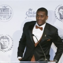 Mississippi State's Johnthan Banks smiles as he answers questions at a news conference Tuesday, Feb. 5, 2013. Banks was presented the Jim Thorpe Award in Oklahoma City as college football's best defensive back. (AP Photo/Sue Ogrocki)