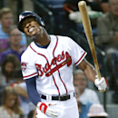 Atlanta Braves center fielder B.J. Upton reacts after striking out in the third inning of a baseball game against the Miami Marlins Monday, April 21, 2014 in Atlanta The Associated Press