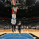 Carmelo Anthony #7 of the New York Knicks dunks against the Minnesota Timberwolves on March 5, 2014 at Target Center in Minneapolis, Minnesota. (Photo by David Sherman/NBAE via Getty Images)
