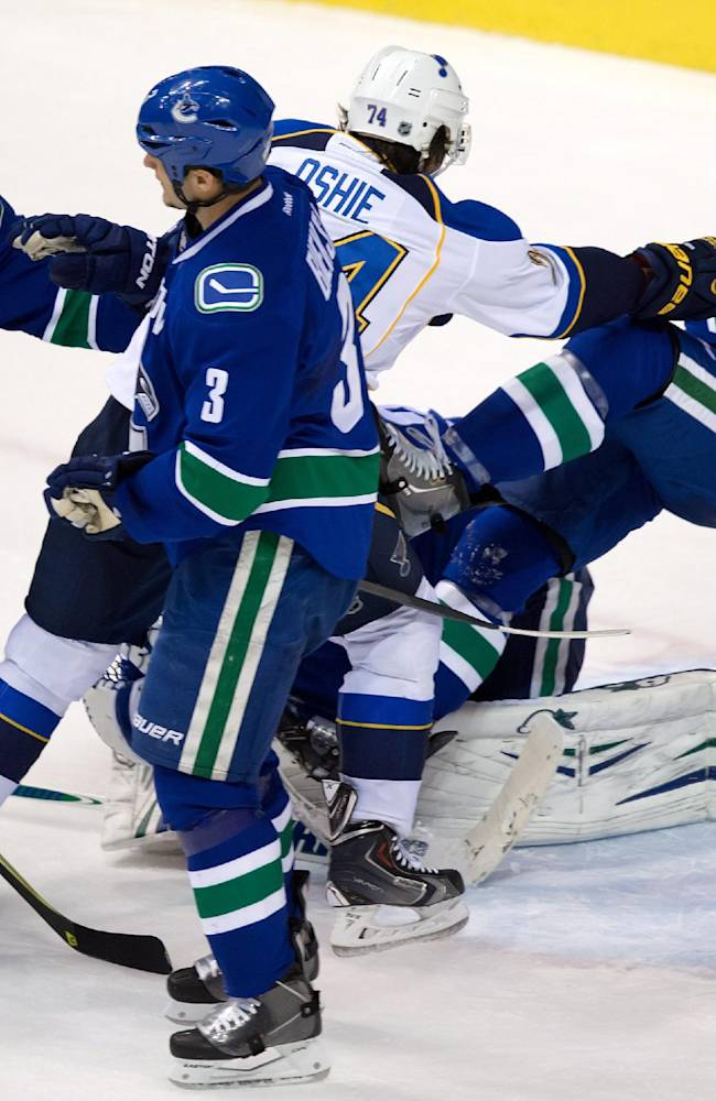 St. Louis Blues' T.J. Oshie,checks Vancouver Canucks' Ryan Stanton, right, over goalie goalie Eddie Lack, of Sweden, as David Booth, left, and Kevin Bieksa defend during the first period of an NHL hockey game in Vancouver, British Columbia, on Wednesday, Feb. 26, 2014