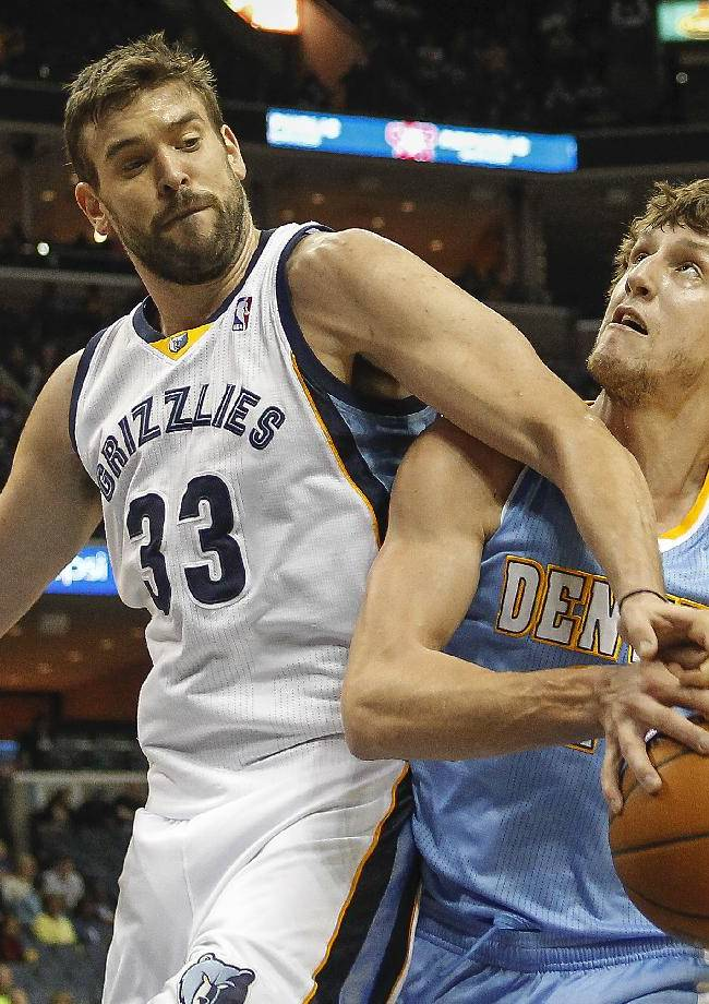 Memphis Grizzlies center Marc Gasol (33), of Spain, blocks a shot by Denver Nuggets forward Jan Vesely, of the Czech Republic, in the first half of an NBA basketball game Friday, April 4, 2014, in Memphis, Tenn