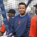 Detroit Tigers first baseman Miguel Cabrera waits his turn outside the batting cage during pre game warmups for a baseball game against the San Diego Padres Saturday, April 12, 2014, in San Diego The Associated Press