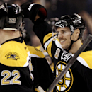 Boston Bruins' David Krejci (46) smiles at teammate Shawn Thornton after his overtime goal gave the Bruins a 3-2 win over the Carolina Hurricanes in a NHL hockey game in Boston Saturday, Nov. 23, 2013 The Associated Press
