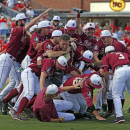 Florida State players celebrate their 6-2 win over North Carolina State after the Atlantic Coast Conference NCAA college baseball tournament championship game, Sunday, May 24, 2015, in Durham, N.C. (AP Photo/Karl B DeBlaker)