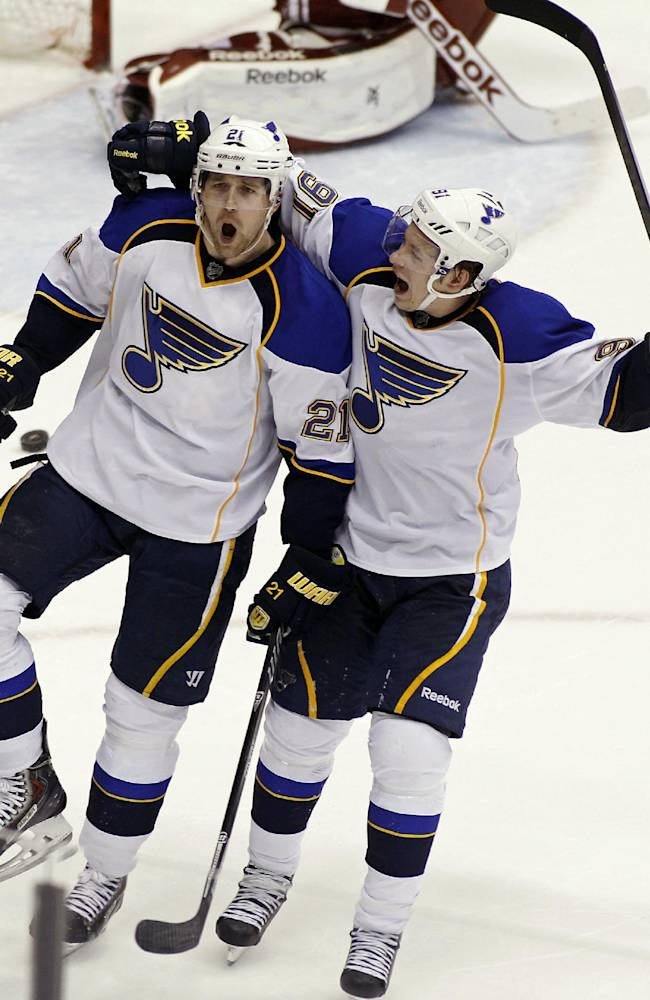 St Louis Blues' Patrick Berglund (21), of Sweden, celebrates with teammate Vladimir Tarasenko (91), of Russia, after his goal against the Phoenix Coyotes during the third period of an NHL hockey game on Sunday, March. 2, 2014, in Glendale, Ariz. The Blues defeated the Coyotes 4-2