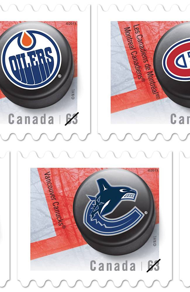 This combo of images released by Canada Post on Friday, Sept. 13, 2013, show new stamps featuring Canadian NHL hockey team logo pucks
