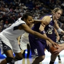 Penn State's Talia East, left, reaches for a rebound around Northwestern's Dannielle Diamant (31) during the first half of an NCAA college basketball game in State College, Pa., Thursday, Jan. 3, 2013. (AP Photo/Ralph Wilson)