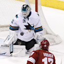 San Jose Sharks' Antti Niemi (31), of Finland, makes a save on a shot by Phoenix Coyotes' Radim Vrbata (17), of the Czech Republic, during the third period of an NHL hockey game Saturday, April 12, 2014, in Glendale, Ariz. The Sharks defeated the Coyotes
