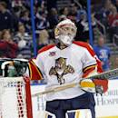 Florida Panthers goalie Dan Ellis reacts after allowing a goal by Tampa Bay Lightning center Tyler Johnson during the second period of an NHL hockey game Thursday, March 13, 2014, in Tampa, Fla. (AP Photo/Brian Blanco)