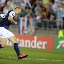 United States' Brek Shea scores a goal against Costa Rica during the second half of a CONCACAF Gold Cup soccer match Tuesday, July 16, 2013, in East Hartford, Conn. The United States won 1-0. (AP Photo/Fred Beckham)
