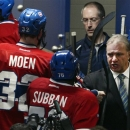 Montreal Canadiens head coach Michel Therrien, right, congratulates Canadiens defenseman P.K. Subban (76) after defeating the