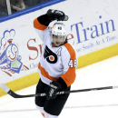 Philadelphia Flyers' Danny Briere celebrates his goal during the third period of the NHL hockey game against the New York Islanders Monday, Feb. 18, 2013, in Uniondale, N.Y. The Flyers defeated  the Islanders 7-0. (AP Photo/Seth Wenig)