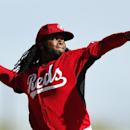 Cincinnati Reds pitcher Johnny Cueto throws during spring training baseball practice in Goodyear, Ariz., Saturday, Feb. 15, 2014 The Associated Press