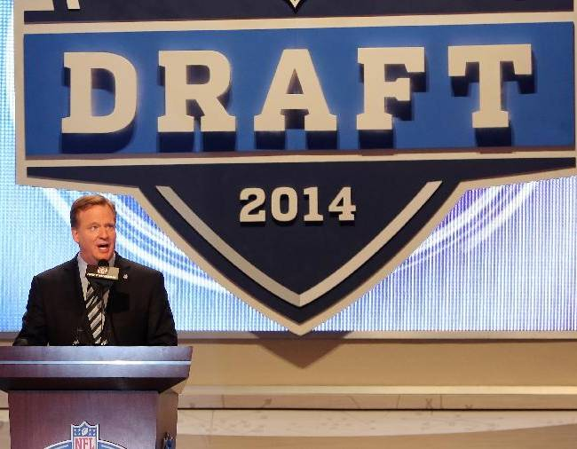 NFL Commissioner Roger Goodell is seen on stage at the 2014 NFL Draft at Radio City on Thursday, May 8th, 2014 in New York, NY
