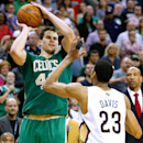 Boston Celtics center Kris Humphries (43) shoots a last second basket to force the game into overtime during an NBA basketball game against New Orleans Pelicans in New Orleans, Sunday, March 16, 2014. The Pelicans won 121-120 The Associated Press