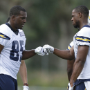 San Diego Chargers tight end Antonio Gates, left, bumps fists with wide receiver Seyi Ajirotutu at NFL football training camp Friday, July 25, 2014, in San Diego. (AP Photo) The Associated Press