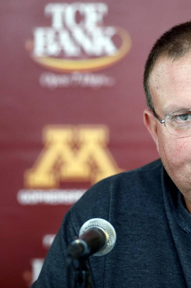 Tracy Claeys, acting head football coach at Minnesota, speaks during a news conference Thursday, Oct. 10, 2013, in Minneapolis. Minnesota coach Jerry Kill has taken an open-ended leave of absence from the team to focus on treatment and management of his epilepsy. The university announced the decision Thursday, before a news conference with athletic director Norwood Teague and Claeys, who is defensive coordinator
