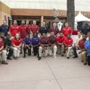 The Pac-12 Conference hosted its annual football media day at Universal Studios in Los Angeles, Tuesday, July 24, 2012. Pac-12 head football coaches, and two players from each team (one offense/one defense) pose for a photo before previewing the 2012 season. The PAC-12 teams are: Arizona, Arizona State, California, Colorado, Oregon, Oregon State, Stanford, UCLA, Southern California, Utah, Washington, and Washington State. (AP Photo/Damian Dovarganes)