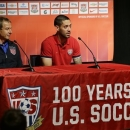 U.S. national soccer team head coach Jurgen Klinnsman, left, and team captain Clint Dempsey, right, talk to reporters, Monday, June 10, 2013, in Seattle. The U.S. will face Panama on Tuesday, June 11, 2013, for a World Cup qualifier soccer match. (AP Photo/Ted S. Warren)